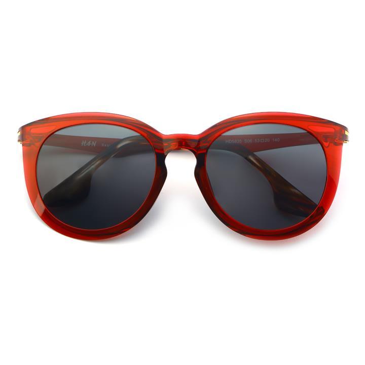 HAN时尚偏光太阳镜-红框黑灰片(HD5835-S06)