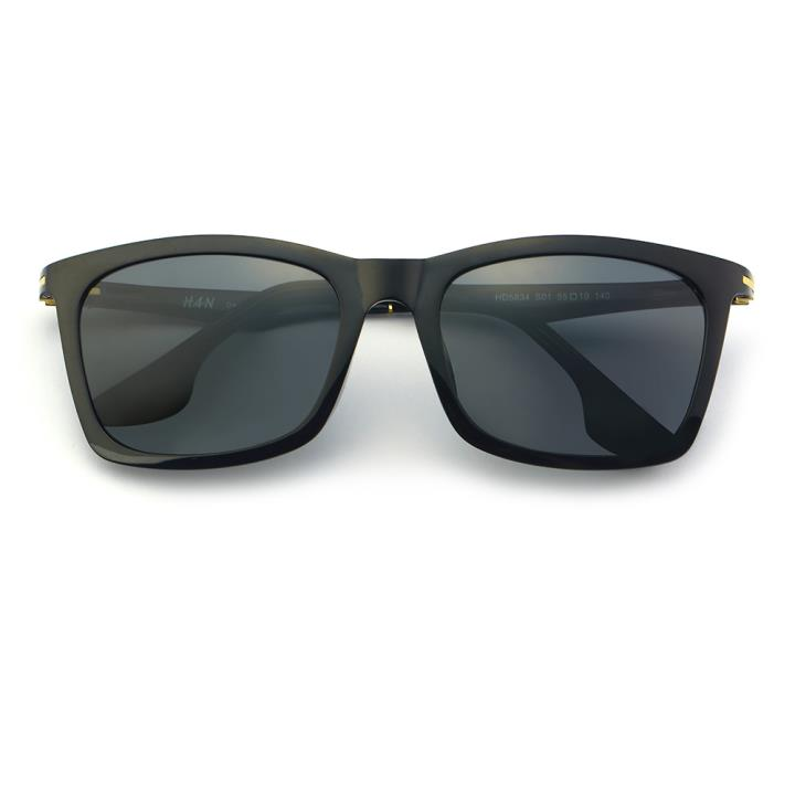 HAN时尚偏光太阳镜-黑框黑灰片(HD5834-S01)