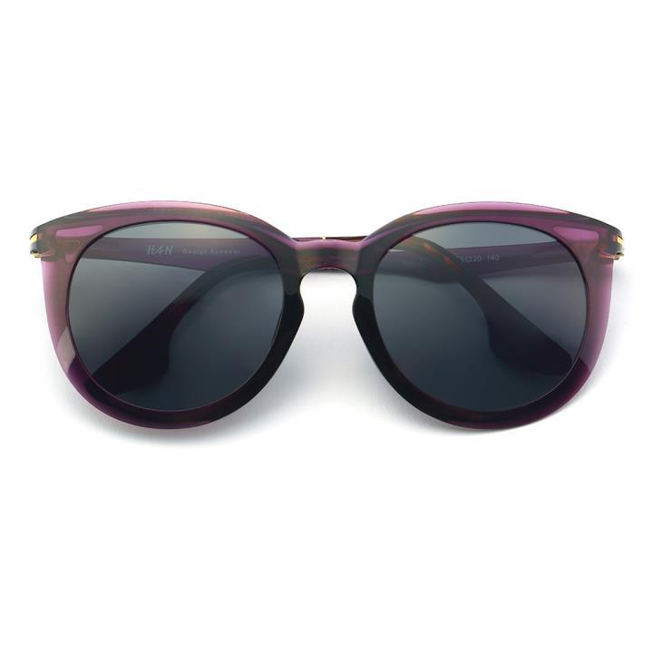 HAN时尚偏光太阳镜-紫框黑灰片(HD5835-S08)