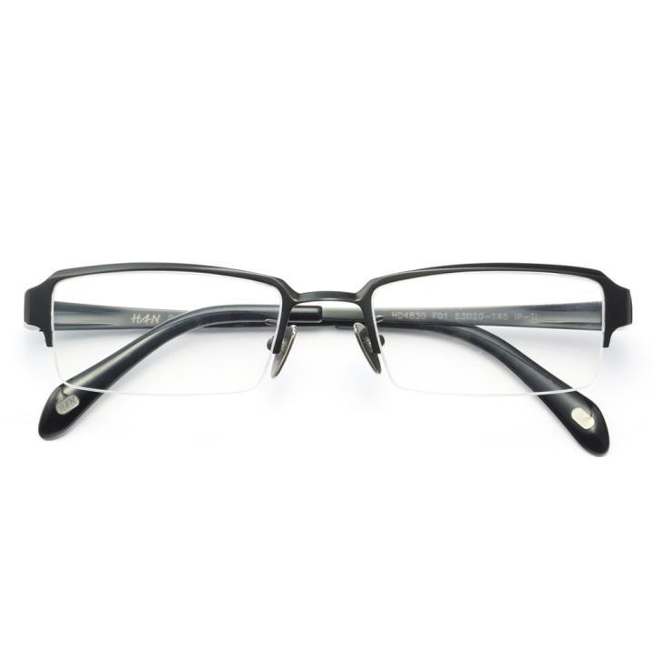 HAN纯钛光学眼镜架-亮黑小码(HD4830-F01)小脸适用
