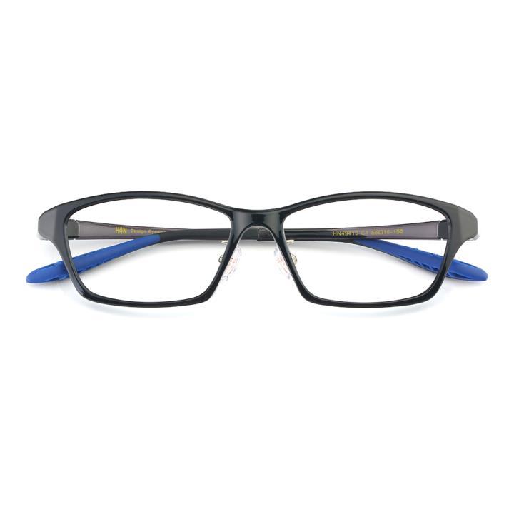 HAN TR光学眼镜架-亮黑(HN49413-C1)(配灰偏光镜套)