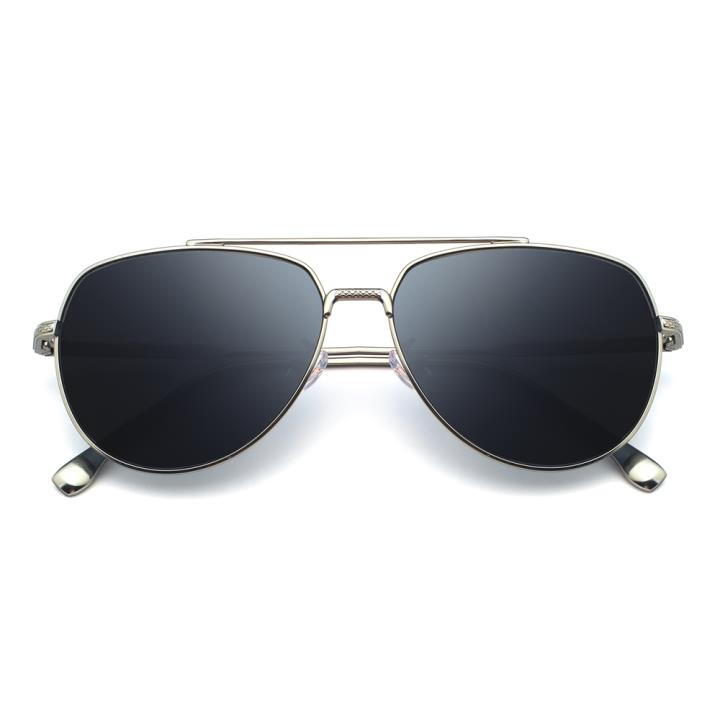 HAN不锈钢白铜防紫外线太阳镜-银框灰片(HD59119-S14)