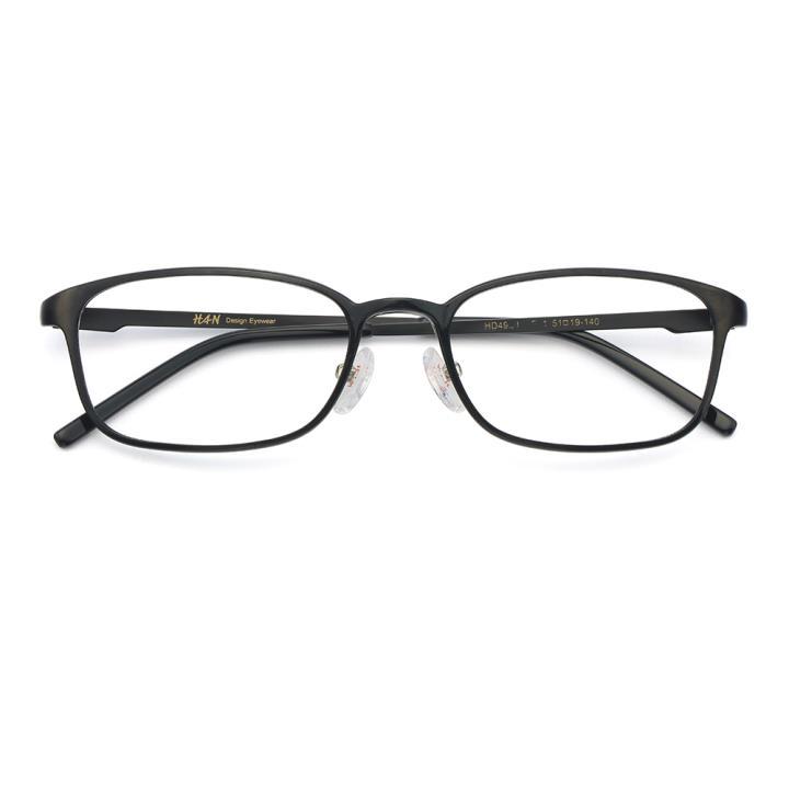 HAN MEGA-TR钛塑不锈钢光学眼镜架-经典亮黑(HD49205-F01)