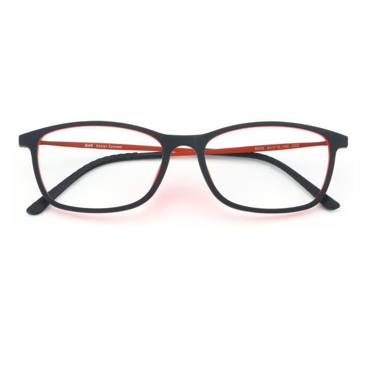 HAN 橡胶钛时尚光学眼镜架-黑红(6006-C2)