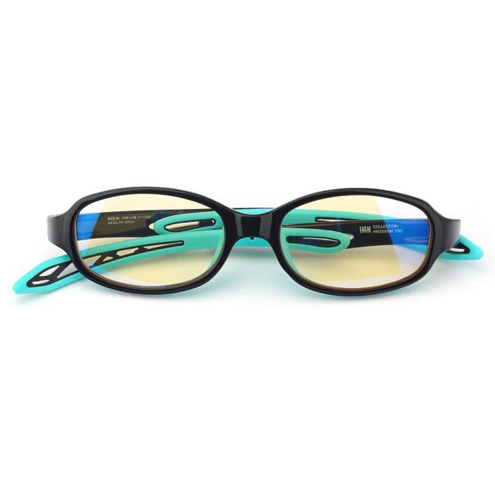 HAN OMO TR90全天候儿童防蓝光护目眼镜-黑框内绿(HN32002 C3/M)平光