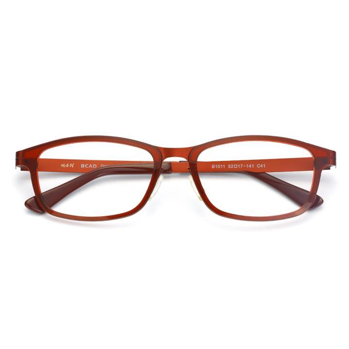 HAN尼龙不锈钢光学眼镜架-酒红色(B1011-C41)