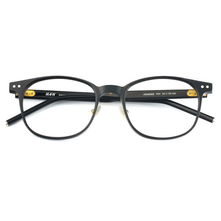 HAN 板材光学眼镜架-经典纯黑(HD49302-F01)