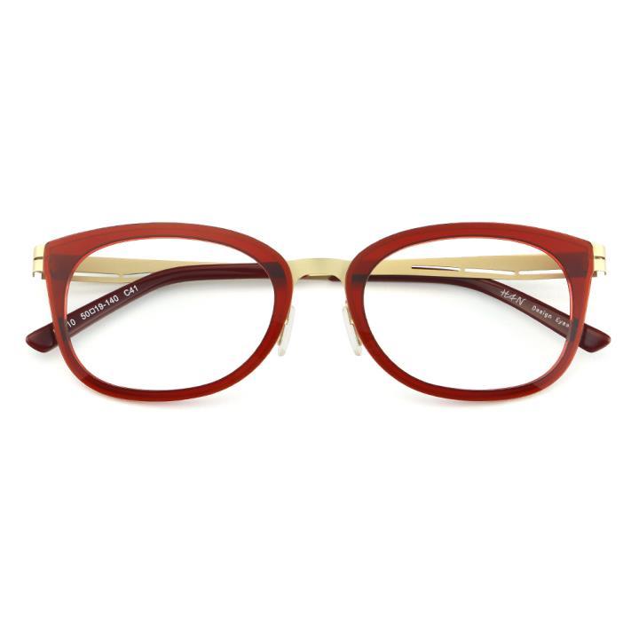 HAN尼龙不锈钢光学眼镜架-时尚酒红(B1010-C41)