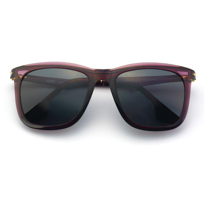 HAN时尚偏光太阳镜-紫框黑灰片(HD5838-S08)