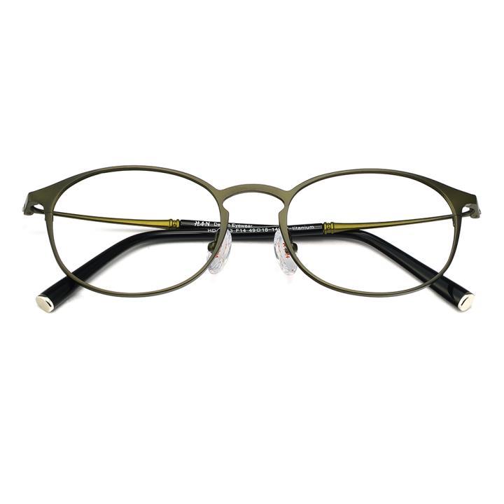 HAN纯钛光学眼镜架-橄榄绿(HD49143-F14)
