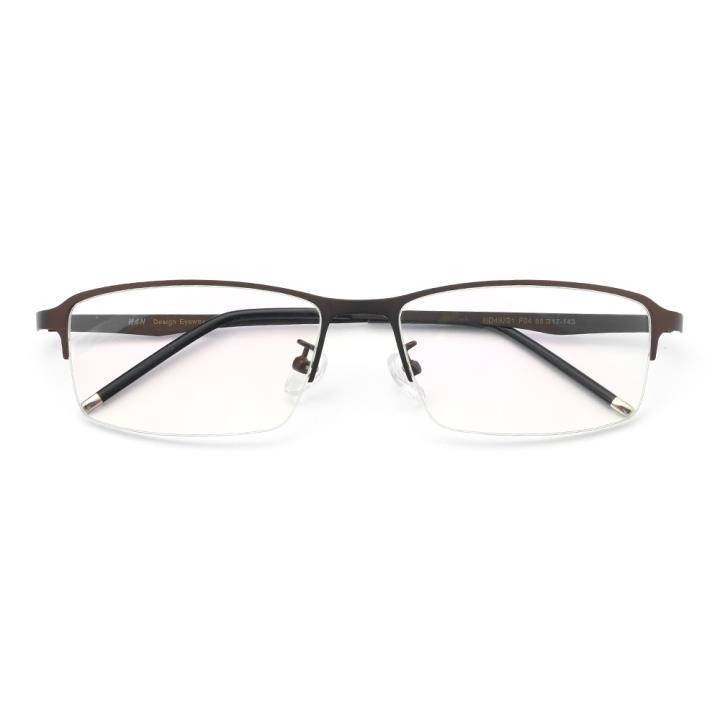 HAN不锈钢近视眼镜架-时尚深棕(HD49321-F04)