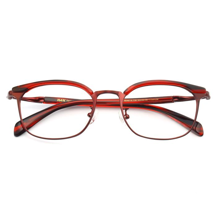 HAN纯钛板材光学眼镜架HD49116-F06激情深红