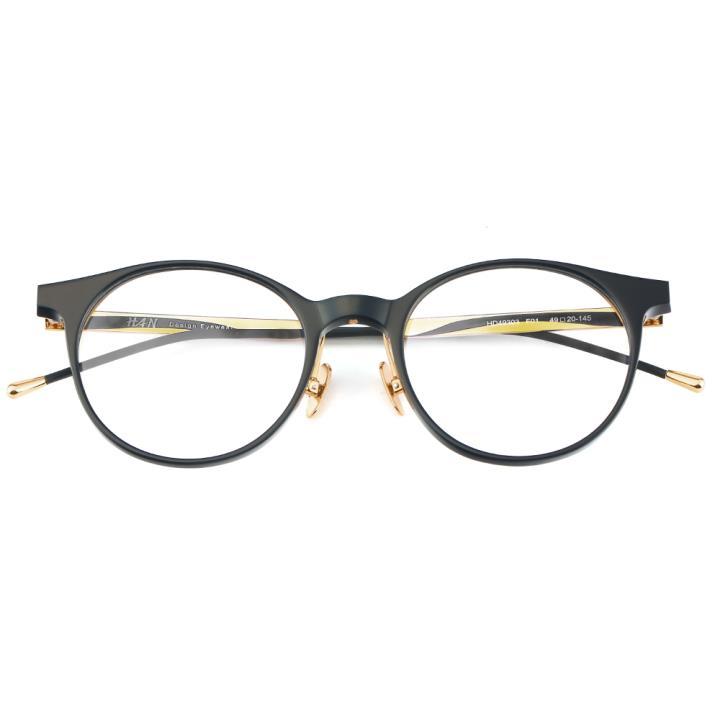 HAN 板材金属光学眼镜架-纯黑色(HD49303-F01)