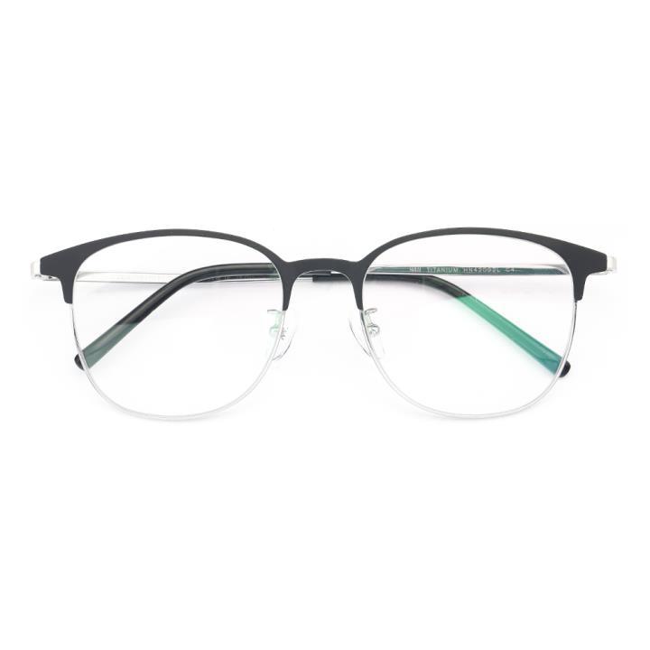 HAN TITANIUM纯钛光学眼镜架HN42092L C4 黑银