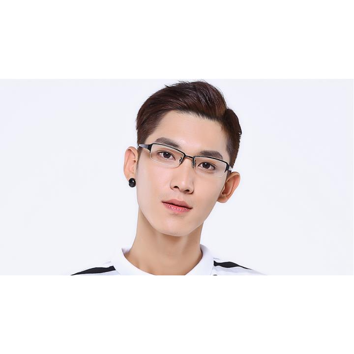 HAN純鈦光學眼鏡架-亮黑大碼(HD4830L-F01)大臉適用