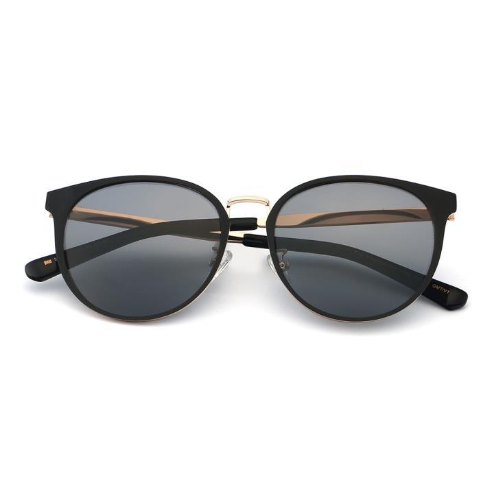 HAN SUNGLASSES不锈钢偏光太阳眼镜-黑框黑灰片(HN52029M C1)