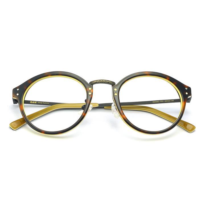 HAN 板材金属光学眼镜架-复古玳瑁(HD4903-F03)