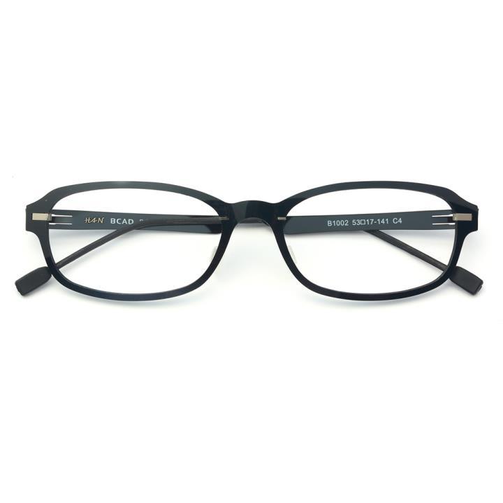 HAN尼龙不锈钢光学眼镜架-亮黑色(B1002-C4)