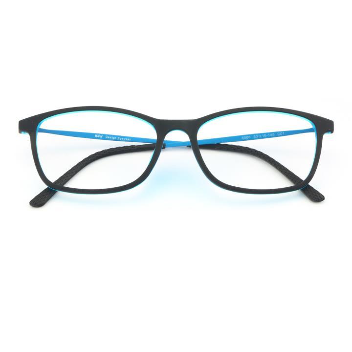HAN 橡胶钛时尚光学眼镜架-黑蓝(6006-C1)