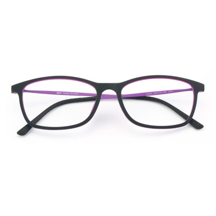 HAN 橡胶钛时尚光学眼镜架-黑紫(6006-C5)