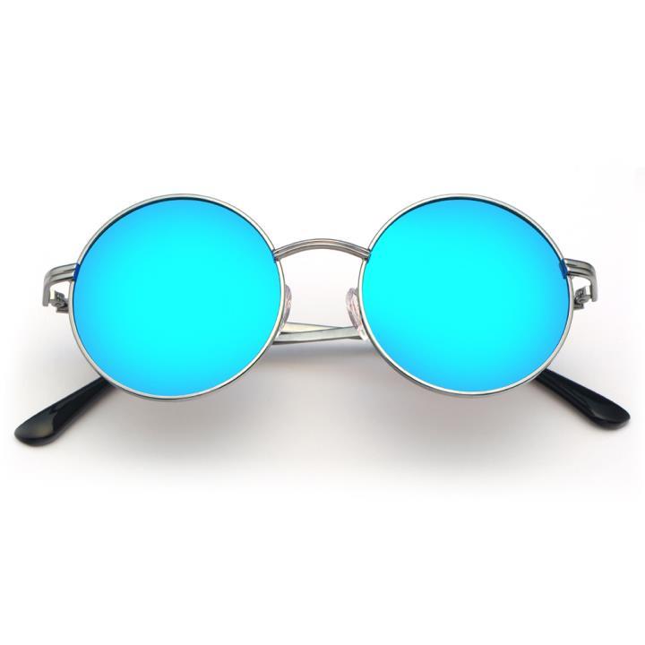HAN不锈钢白铜防紫外线太阳镜-银框蓝片(HD59117-S09)