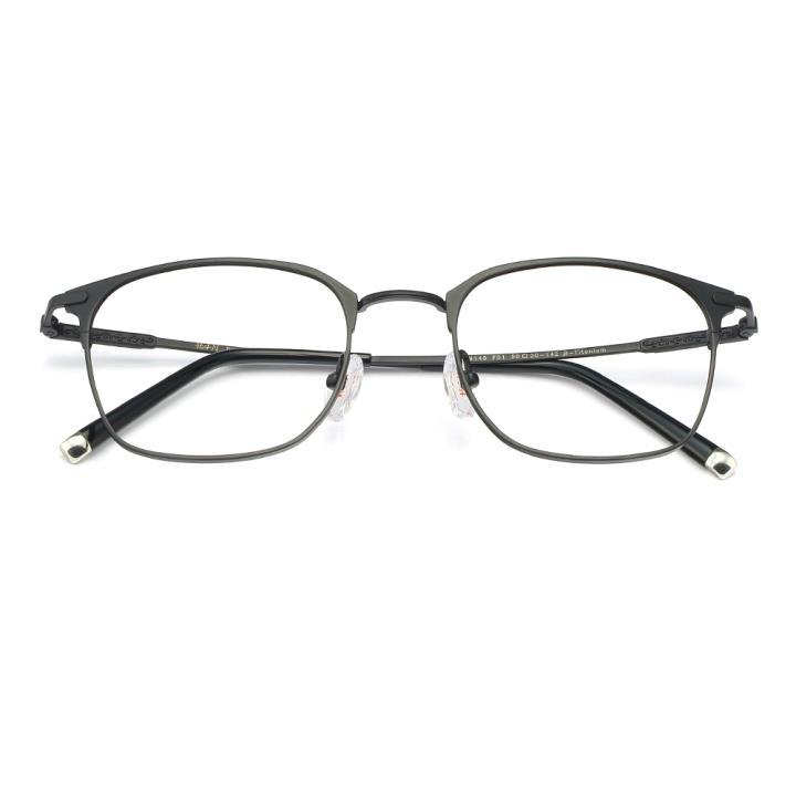 HAN纯钛时尚光学眼镜架-质感哑黑(HD49145-F01)