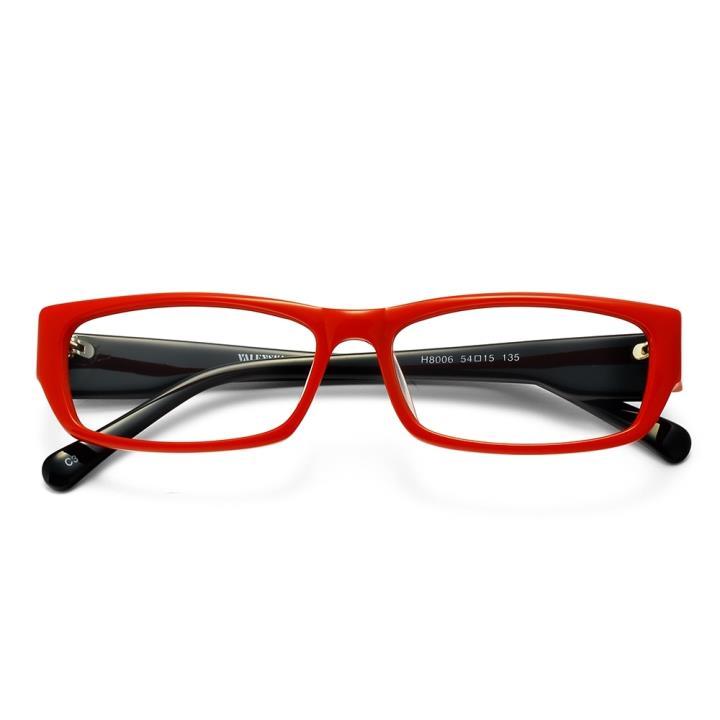 沃兰世奇板材眼镜架-红框黑腿(8006-C3)