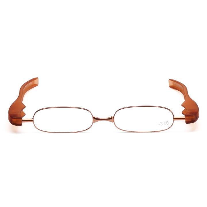 360度旋转折叠老花眼镜棕色