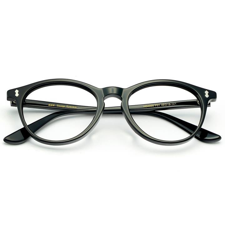 HAN板材时尚光学眼镜架-亮黑色(HD4958-F01)