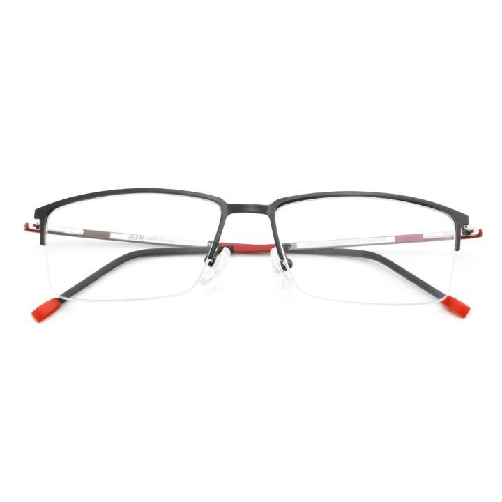HAN纯钛光学眼镜架HD49106-F06黑框红色脚丝