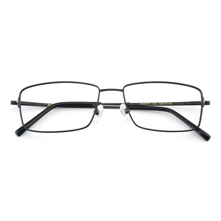 HAN纯钛板材光学眼镜架-经典纯黑(HN49377-C02)