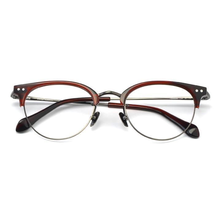 HAN板材金属光学眼镜架-透明红(HD49306-F06)