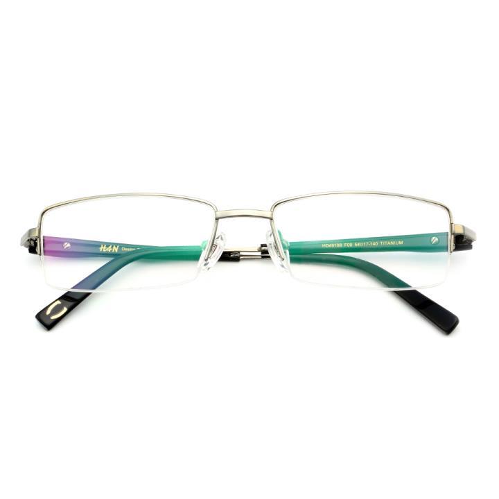 HAN纯钛光学眼镜架HD49108-F09炫酷银灰