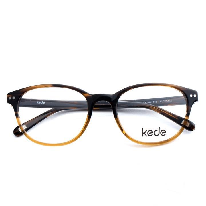 Kede时尚光学眼镜架Ke1444-F13  上啡条纹下透黄色