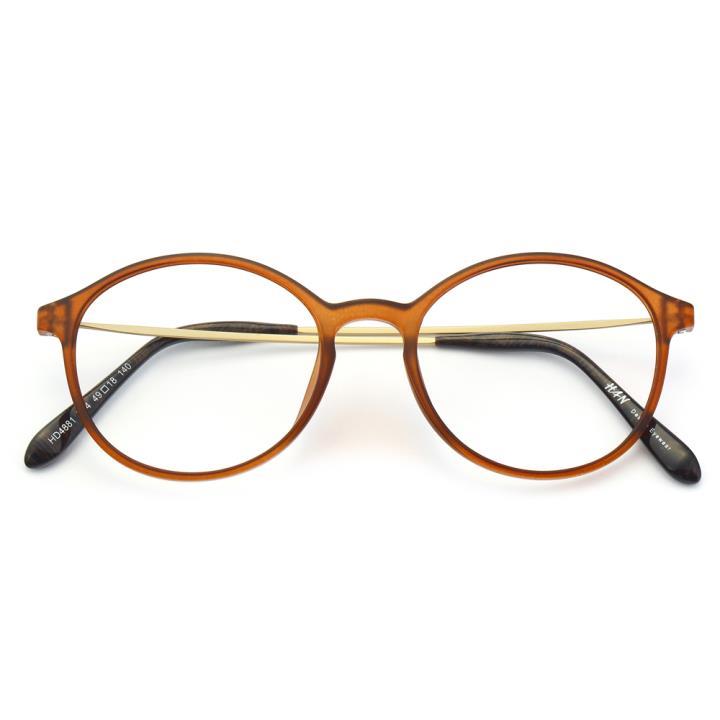 HAN塑钢时尚光学眼镜架-哑棕色(HD4881-F04)