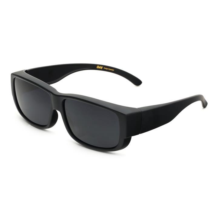 HAN时尚偏光太阳镜套镜HD5901-S01 黑框黑灰片