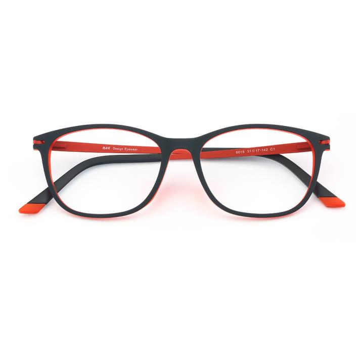 HAN 橡胶钛时尚光学眼镜架-黑红色(6015-C1)