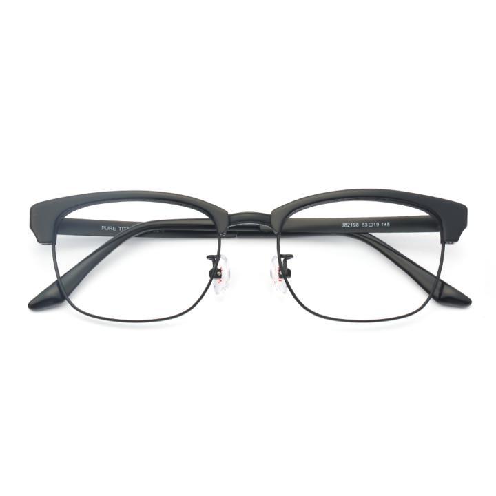 HAN纯钛板材光学眼镜架-亮黑色(J82198-C2-4)