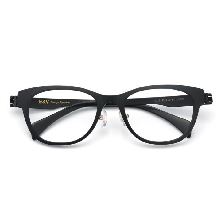 HAN TR金属光学眼镜架-经典纯黑(HD49163-F02)