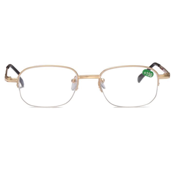 吉祥半框树脂老光眼镜 金色