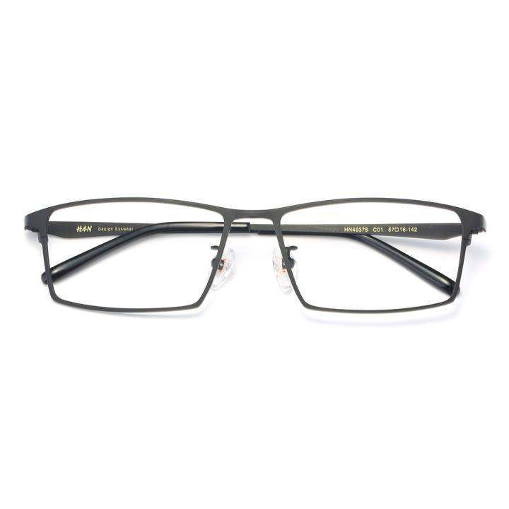 HAN纯钛光学眼镜架-经典哑黑(HN49376-C01)