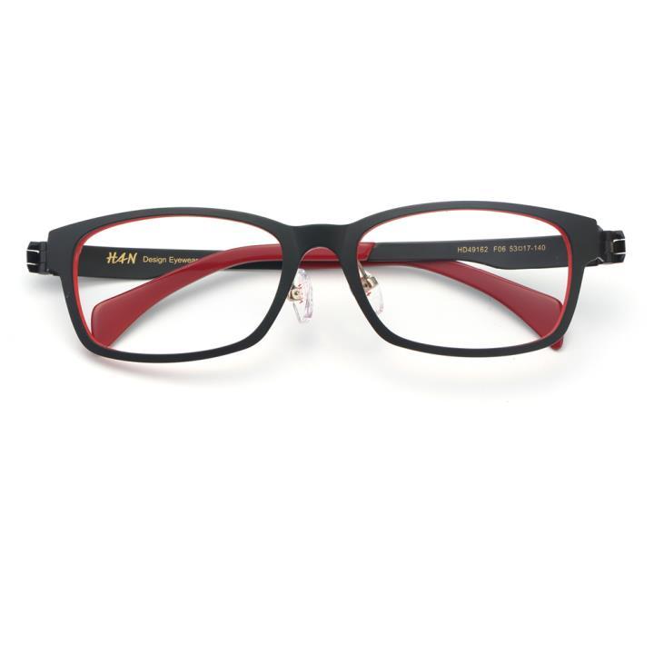 HAN TR金属光学眼镜架-黑红色(HD49162-F06)