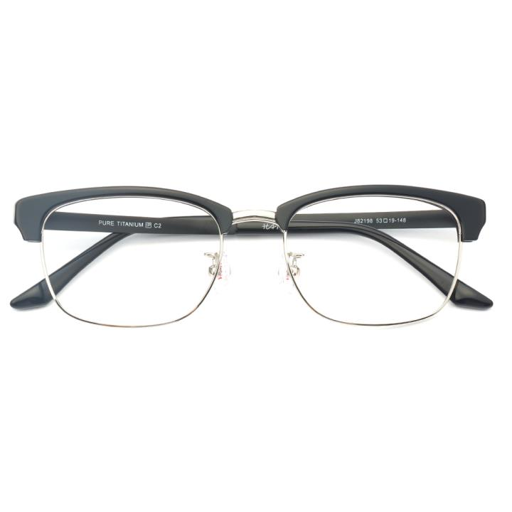 HAN纯钛板材光学眼镜架-黑银色(J82198-C2)