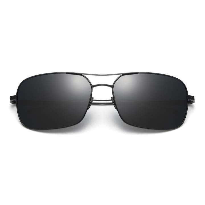 HAN 纯钛偏光太阳镜-黑框黑灰片(HD5850-S01)