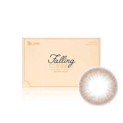 OLENS Falling 暧恋系列彩色隐形眼镜月抛2片装-莹润棕色