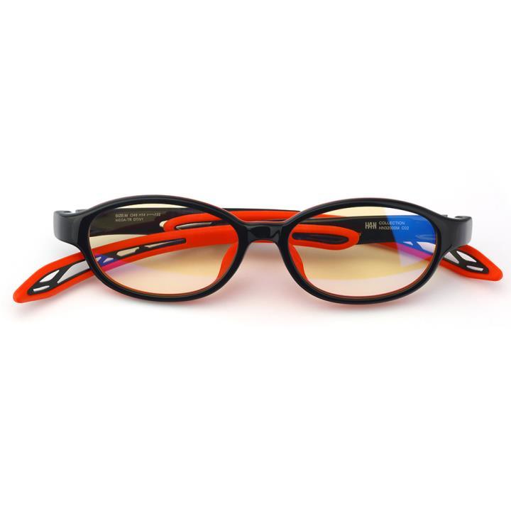 HAN OMO TR90全天候儿童防蓝光护目眼镜-黑红色(HN32000 C2/S)平光