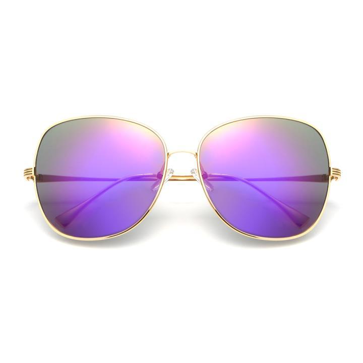 HAN时尚防紫外线太阳镜HD59303-S16 金框紫色片
