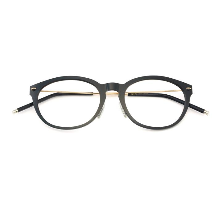HAN尼龙不锈钢光学镜架-亮黑色(HD49177-C1)