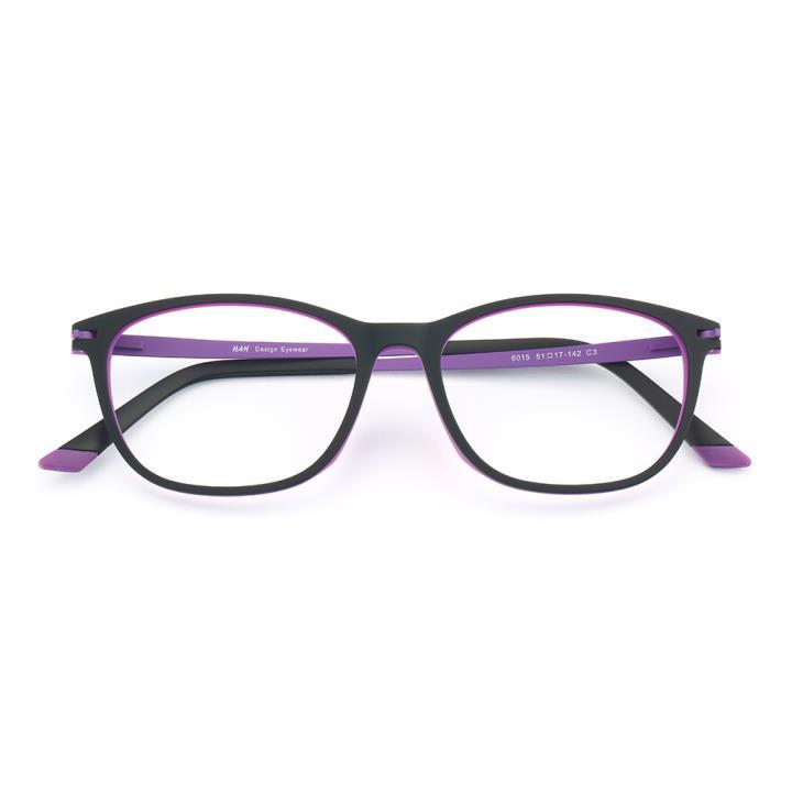 HAN 橡胶钛时尚光学眼镜架-黑紫色(6015-C3)