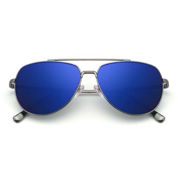 HAN不锈钢白铜防紫外线太阳镜-枪框蓝片(HD59119-S12)